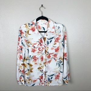 NY COLLECTION FLORAL PRINT BLOUSE